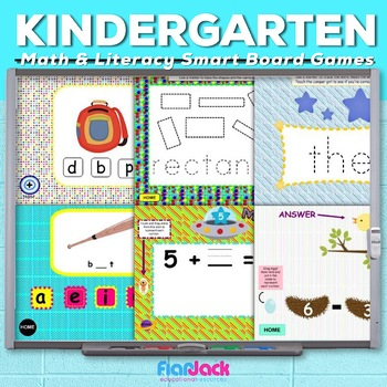 Kindergarten Common Core Based Math and Literacy SMART BOARD Game Pack