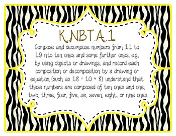 Kindergarten Common Core CCSS Labels and Posters Math and ELA-Zebra