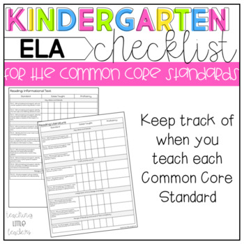 Kindergarten Common Core Checklist ELA