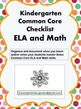 Kindergarten Common Core Checklist-ELA and Math