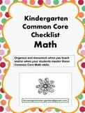 Kindergarten Common Core Checklist-Math