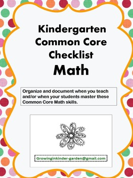 Kindergarten Common Core Checklist-Math