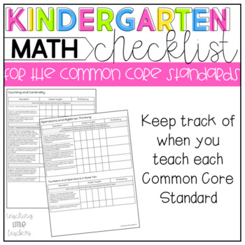Kindergarten Common Core Checklist Math