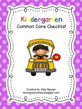 Kindergarten Common Core Checklist for Teachers