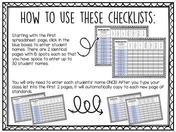 Common Core Checklist: Kindergarten {EDITABLE}