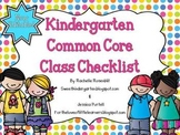 Kindergarten Common Core Class Checklist {Now Editable!}