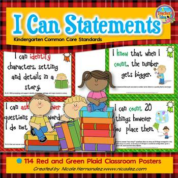 I Can Statements KINDERGARTEN Common Core Standards Plaid (130 Pages)