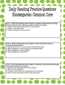 Worksheets Questions For Kindergarten kindergarten common core co by lulu and goo teachers pay comprehension questions