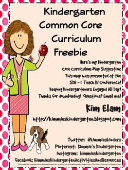 kindergarten mon core curriculum map by kimberly elam tpt