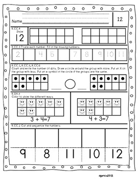 Kindergarten Common Core Daily Math Practice Part 1