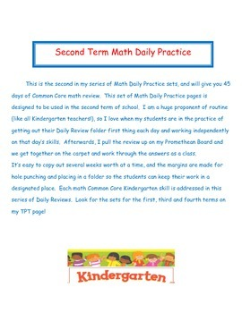 Kindergarten Common Core Daily Math Practice - Second Term