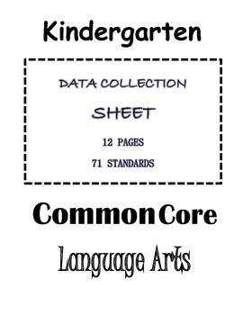 Kindergarten Common Core Checklists - Language Arts