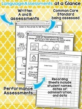 Kindergarten Common Core ELA Assessments - ALL STANDARDS
