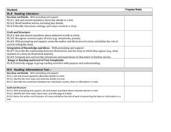 Kindergarten Common Core ELA Benchmarks for 4th 9 weeks