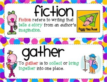 Kindergarten Common Core ELA Illustrated Vocabulary Cards with Definitions