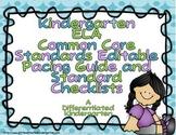 Kindergarten Common Core ELA Pacing Guide Checklist-Editable