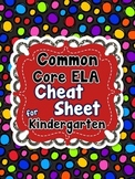 Kindergarten Common Core ELA Standards CHEAT SHEET (ALL standards on 1 PAGE)