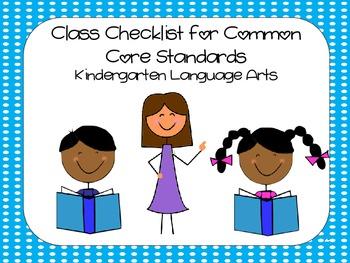 Kindergarten Common Core ELA Standards Checklist - Dots