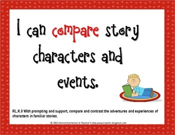 I Can Statements KINDERGARTEN Common Core Standards Red (108 Pages)
