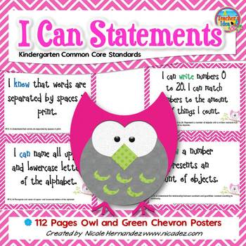 I Can Statements KINDERGARTEN Common Core Standards Owl Chevron (112 Pages)