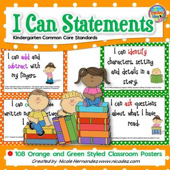 I Can Statements KINDERGARTEN Common Core Standards Orange n Green (108 Pages)