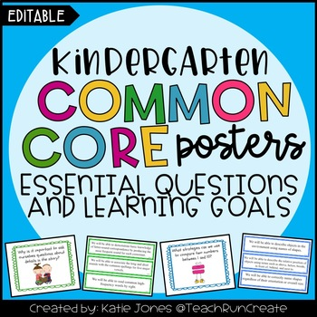 Kindergarten Common Core {Essential Questions & Learning Goals - Marzano}
