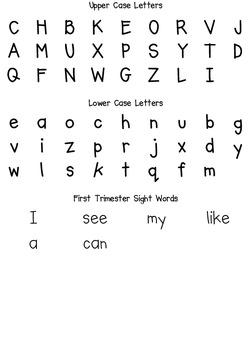 Kindergarten Common Core First Trimester Student Progress Report