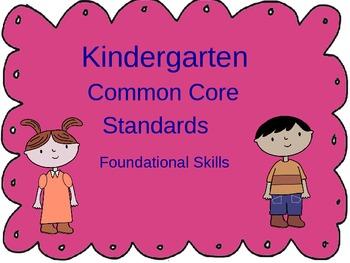 Common Core Kindergarten - Foundational Skills,Writing and Language