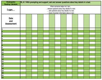 Kindergarten Common Core Gradebook