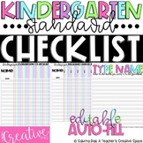 Kindergarten Standards Checklist - ELA & Math - Editable/Auto-fill