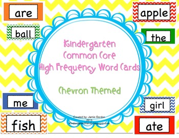 Kindergarten Common Core High Frequency Word Wall Words and Sight Words: Chevron