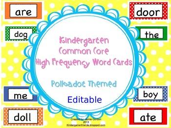 Kindergarten Common Core High Frequency Word Wall Words - Polkadot **EDITABLE**