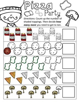 Kindergarten Common Core How Many More Pizza Counting Activity (4 Total)