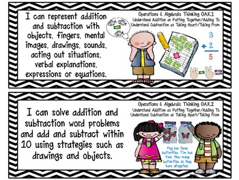 "Kindergarten Common Core ""I CAN STATEMENTS"" Pocket Chart Sized {Black & White}"