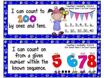 """Kindergarten Common Core """"I CAN STATEMENTS"""" Pocket Chart Sized {Blue Paw Prints}"""
