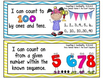"Kindergarten Common Core ""I CAN STATEMENTS"" Pocket Chart Sized {Blue & Yellow}"