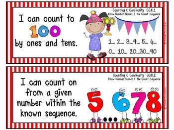 "Kindergarten Common Core ""I CAN STATEMENTS"" Pocket Chart Sized {Circus Stripes}"