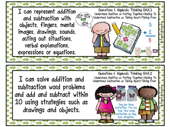 """Kindergarten Common Core """"I CAN STATEMENTS"""" Pocket Chart Sized {Frog Theme}"""