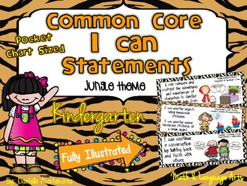 "Kindergarten Common Core ""I CAN STATEMENTS"" Pocket Chart Sized {Jungle Theme}"