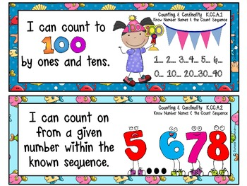 "Kindergarten Common Core ""I CAN STATEMENTS"" Pocket Chart Sized {Ocean Theme}"