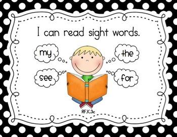 "Kindergarten Common Core ""I Can"" Posters (Black Polka Dot)"