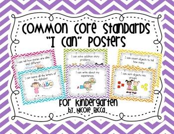 "Kindergarten Common Core ""I Can"" Posters Chevron"