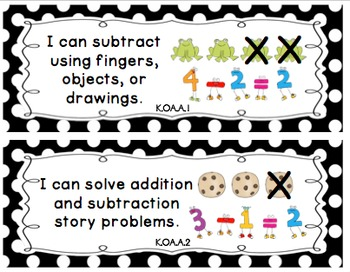 """Kindergarten Common Core """"I Can"""" Posters (Pocket Chart Size)"""
