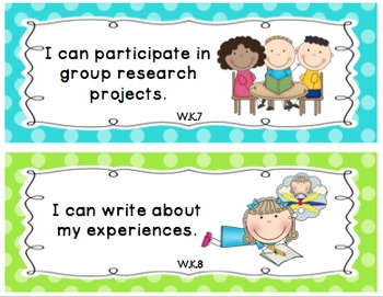 """Kindergarten Common Core """"I Can"""" Posters Polka Dots (Pocket Chart Size)"""
