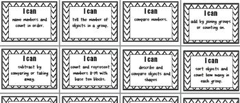 Kindergarten Common Core 'I Can' Posters Math and Reading (B&W)