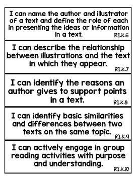 """Kindergarten Common Core """"I Can"""" Statement Cards [b&w]"""