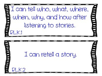 "Kindergarten Common Core "" I Can"" Statements"