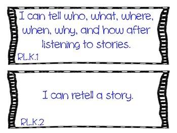 "Kindergarten Common Core "" I Can"" Statements"