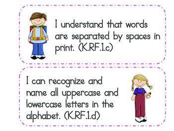 "Kindergarten Common Core ""I Can"" Statements - ELA"