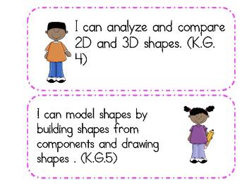 "Kindergarten Common Core ""I Can"" Statements - Mathematics"
